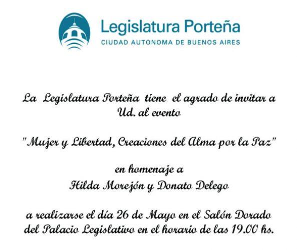 Homenaje a Donato Delego e Hilda Morejón en la Legislatura Porteña