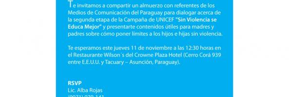 Invitación Almuerzo UNICEF PY